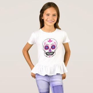 Girls Pink Candy Skull Ruffle Shirt