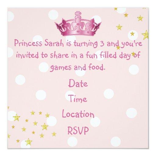 "Girl's Pink Crown Birthday Invitation 5.25"" Square Invitation Card"