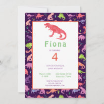 Girls Pink Dinosaur Birthday Watercolor Invitation