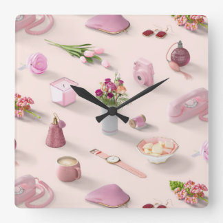 Girl's Pink Dream Square Wall Clock