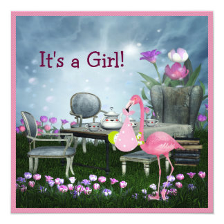 Girl's Pink Flamingo Wonderland Baby Shower Card