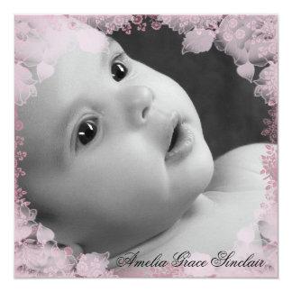 Girls Pink Flower Photo Birth Announcement