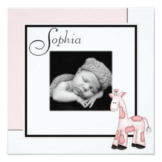 Girls Pink Giraffe Photo Birth Announcement
