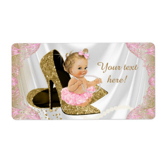 Girls Pink Gold Baby Shower Water Bottle Labels