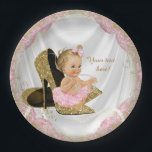 "Girls Pink Gold High Heel Baby Shower Paper Plate<br><div class=""desc"">Pink and gold high heel shoe baby shower invitation with adorable light hair blonde baby girl wearing a pink tutu and string of pearls sitting on a pair of elegant gold glitter high heel shoes on a pretty pink and gold satin background. These adorable pink and gold baby shower paper...</div>"