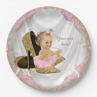 Girls Pink Gold High Heel Baby Shower Paper Plate at Zazzle