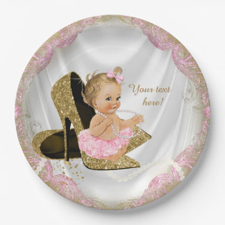 Girls Pink Gold High Heel Baby Shower Paper Plate