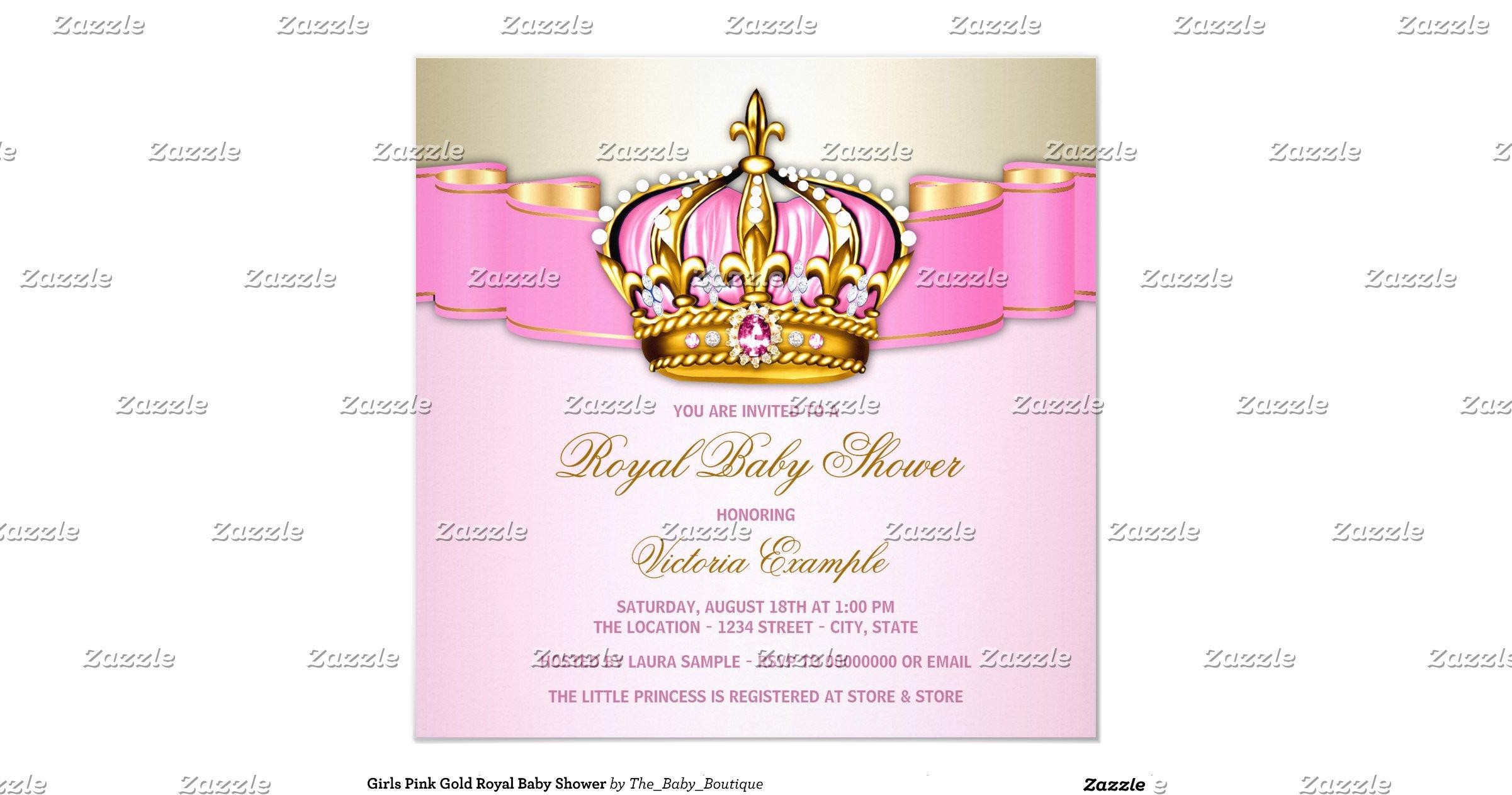 girls pink gold royal baby shower invitation