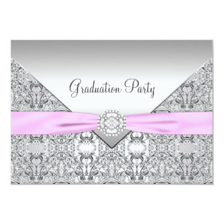 Girls Pink Graduation Party Card