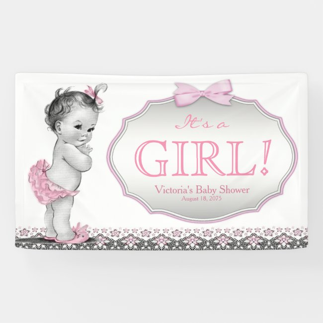 Girls Pink Gray Lace Bow Baby Shower Banner