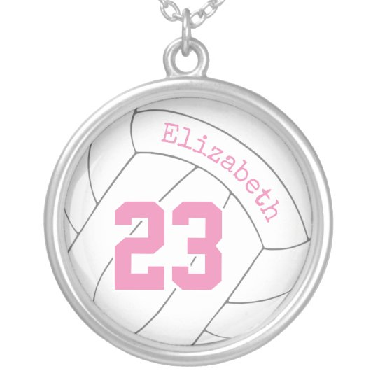 Girls Pink Gray White Personalized Volleyball Silver Plated Necklace