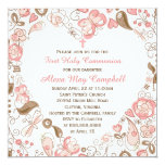 """Girl's Pink Heart Floral First Communion 5.25"""" Square Invitation Card"""