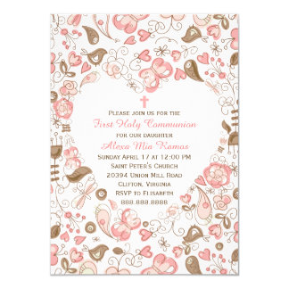 Girl's Pink Heart Floral First Communion 4.5x6.25 Paper Invitation Card