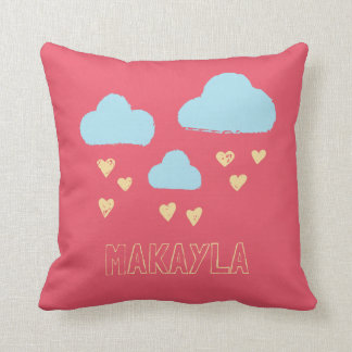 Girl's Pink Hearts Raincloud Personalized Name Throw Pillow