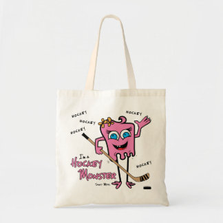 Girls Pink Hockey Monster Tote Bag