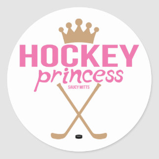 Girls Pink Hockey Princess Classic Round Sticker