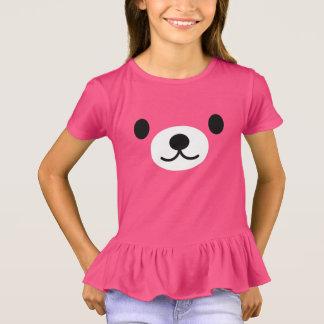 Girl's Pink Kawaii Teddy Bear Ruffles T-shirt