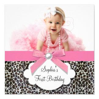 Girls Pink Leopard Birthday Party Custom Announcement