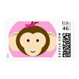 Girls Pink Monkey Postage Stamps