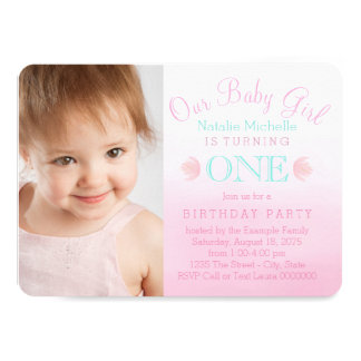 Girls Pink Ombre First Birthday Party Card
