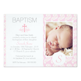 Girls Pink Paisley Photo Baptism Invitation 11 Cm X 16 Cm Invitation Card