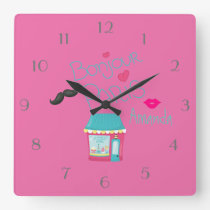 Girls Pink Paris Theme Personalized Square Wall Clock