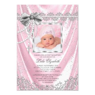 Girls Pink Photo Baptism Christening Satin Glitter Card