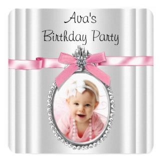 Girls Pink Photo Birthday Party 5.25x5.25 Square Paper Invitation Card