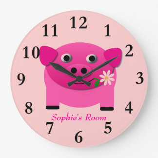 Girl's Pink Pig Wall Clock Personalised With Name