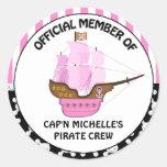 Girls Pink Pirate Ship Birthday Classic Round Sticker
