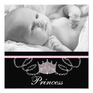 Girls Pink Princess Birth Announcements