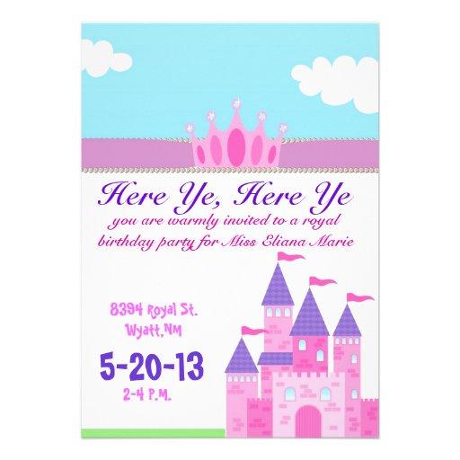 Girls pink princess Invitation
