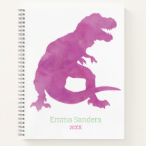 Girls Pink Purple Dinosaur Watercolor T-Rex Kids Notebook