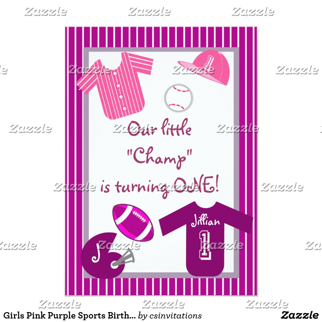 Girls Pink Purple Sports Birthday Party Invitation