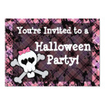 Girl's Pink Skull Halloween Party 5x7 Paper Invitation Card