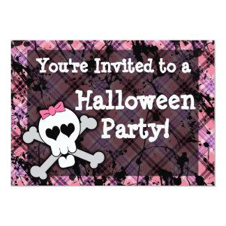 Girl's Pink Skull Halloween Party Invitations
