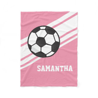 Girl's Pink Soccer Ball Sports Personalized Name Fleece Blanket