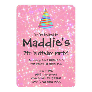 Girls 7th birthday party invitations announcements zazzle girls pink sparkle 7th birthday party invite stopboris Gallery