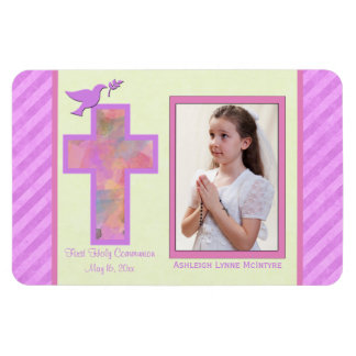 Girls Pink Striped 1st Holy Communion Photo Magnet