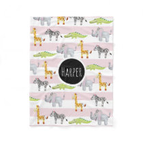 Girl's Pink Striped Safari Animal with Name Kids Fleece Blanket