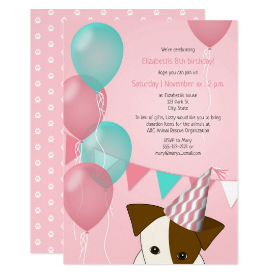 S Pink Teal Balloons Puppy Birthday Party Invitation