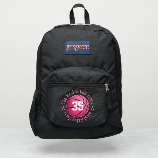 girls pink The basketball court is my happy place JanSport Backpack