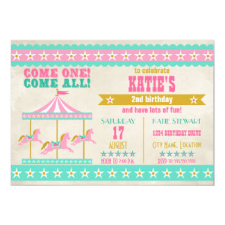 Girl's Pink Turquoise Gold Carousel Party Card