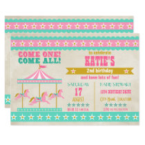 Girl's Pink Turquoise Gold Carousel Party Invitation