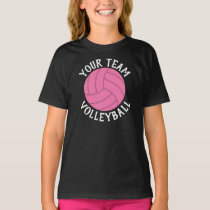 Girls Pink Volleyball Custom Team Name T-shirt