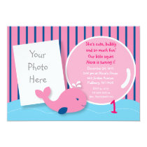Girls Pink Whale Photo Birthday Invitations