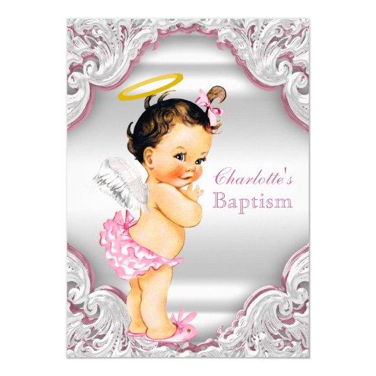 girls pink white angel girl baby baptism invitation zazzle com