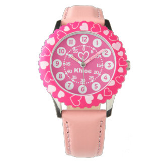 Girls pink & white short name wrist watch