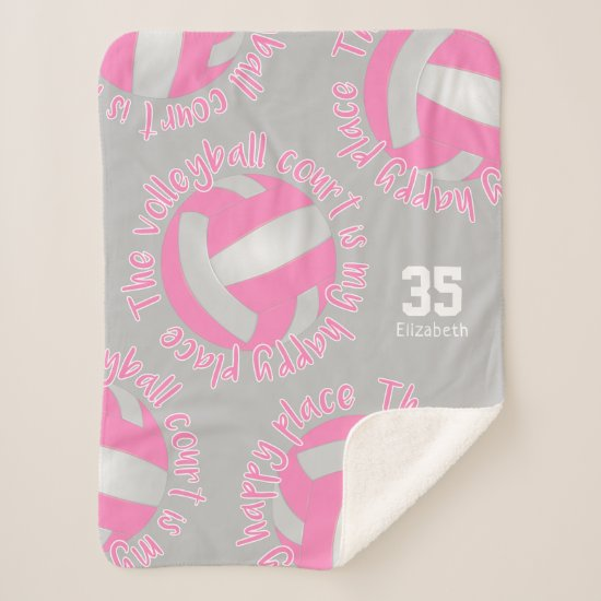 girls pink white volleyball court my happy place sherpa blanket