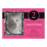Girls Pink Zebra Personalized Birthday Invitation